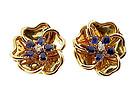 Vintage 18K Gold, Diamond & Sapphire Flower Earclips