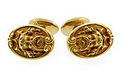 Art Nouveau 14K Gold Mythological Poseidon Cufflinks