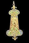 Eugene Feuillatre 18K Gold Plique-A-Jour Enamel Pendant