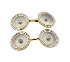 Larter 14K Gold, Platinum, Pearl & Abalone Cufflinks