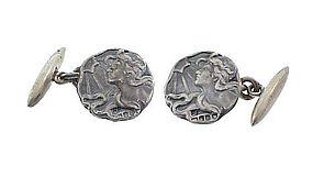 English Art Nouveau Sterling Silver Maiden Cufflinks