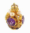 Venetian Etruscan 18K Gold Amethyst Pearl Fob Charm