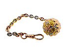 Victorian 14K Colored Gold & Platinum Watch Fob & Chain