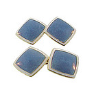 Art Deco Carrington 14K Gold Champleve Enamel Cufflinks