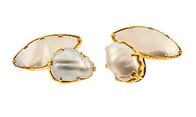 18K Gold, Baroque Pearl & Mother-of-Pearl Cufflinks