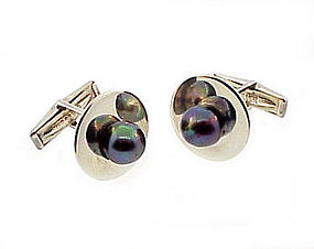 Ted Lowy Modernist Silver Black Pearl Cufflinks
