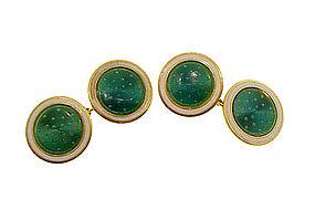 French Art Deco 18K Gold & Guilloche Enamel Cufflinks