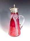 English Cranberry Cut Glass Sterling Silver Claret Jug