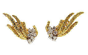 Vintage Cartier 18K Gold Platinum Diamond Earrings