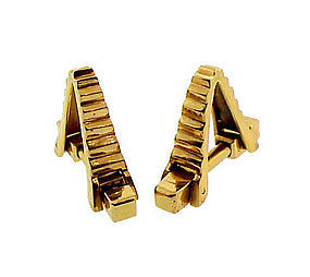 French 18K Yellow Gold Ridged Stirrup Cufflinks