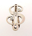 Vintage Blackinton Sterling Silver $ Figural Money Clip