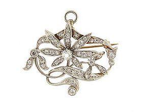 Art Nouveau Platinum 18K Diamond Floral Pendant Pin