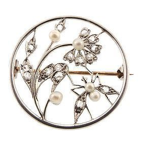 Edwardian Tiffany Platinum Diamond Pearl Flower Bug Pin