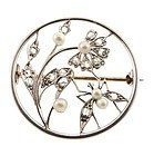 Edwardian Tiffany Platinum Diamond Pearl Flower Bug Pin