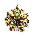 H Stern Style 18K Gold Multi-Stone Sputnik Pendant
