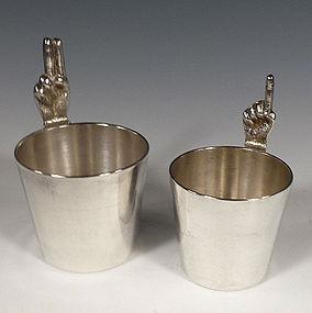 Art Deco Silverplate 1 Finger & 2 Finger Jigger Set