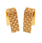 14K Yellow Gold Basketweave Stirrup Cufflinks