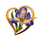 Krementz Art Nouveau 14K Enamel Diamond Iris Heart Pin