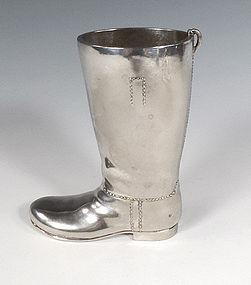 Art Deco Silver Plate Riding Boot Figural Jigger