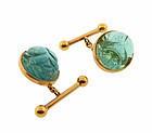Deco Egyptian Revival 18K Tourmaline Scarab Cufflinks