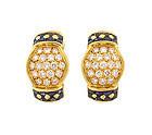 Pery & Cie French 18K Gold Diamond Sapphire Earrings