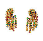 Chaumet 18K Diamond Ruby Sapphire Emerald Earrings