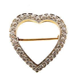Edwardian 14K Yellow/White Gold & Diamond Heart  Pin