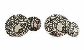 Cubist Greek-Style Silver Medusa Cufflinks