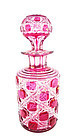Baccarat Crystal Cranberry-Cut-To-Clear Perfume Bottle