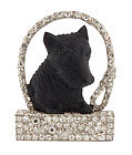 Art Deco Platinum Diamond Carved Stone Scottie Brooch