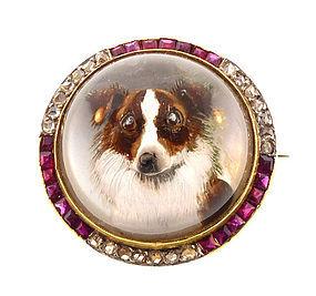 Edwardian 18K Diamond Ruby Essex Crystal Collie Brooch