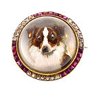 Edwardian 18K Diamond Ruby Essex Crystal Collie Brooch