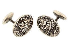 Art Nouveau Sterling Silver Indian Head Cufflinks