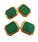 Art Deco Krementz 14K Gold & Green Chalcedony Cufflinks