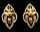 Art Nouveau 14K Gold Diamond Emerald Gargoyle Cufflinks