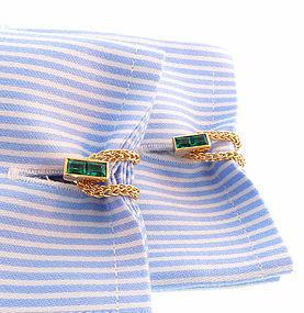 Retro 14K Gold & Emerald Chain Cufflinks