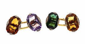 Deco14K Gold, Platinum, Diamond, Gemstone Cufflinks