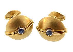 David Webb 18K Gold Platinum & Sapphire Cufflinks