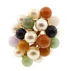 Ming's of Honolulu 14K Gold, Pearl & Jade Ring