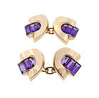 Retro 14K Gold & Amethyst Cufflinks