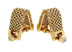 French 18K Gold Mesh & Diamond Stirrup Cufflinks