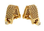 French 18K Gold Mesh & Diamond Stirrup Cufflinks