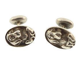 Victorian Sterling Silver Beagle Hound Dog Cufflinks