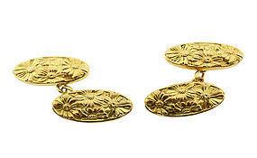 Art Nouveau 20K Gold Floral Double-Faced Cufflinks