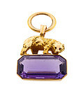 Victorian 14K Gold, Amethyst & Ruby Bear Figural Watch Fob