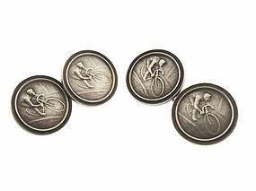 Art Nouveau Silver Bicycle Racing Medallion Cufflinks