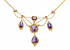 Victorian 14K Gold Filigree, Amethyst & Seed Pearl Festoon Necklace