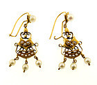Victorian 14K Gold & Pearl Earrings
