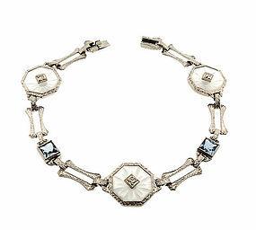 Art Deco Platinum 14K White Gold Crystal Blue Spinel Filigree Bracelet