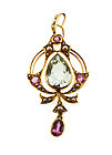 English Art Nouveau 15K Gold Aquamarine Pink Tourmaline Pearl Pendant